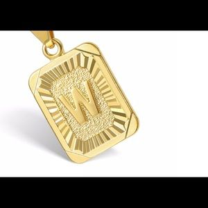 "Gold Filled Letter W Pendant 18"" Long Necklace"